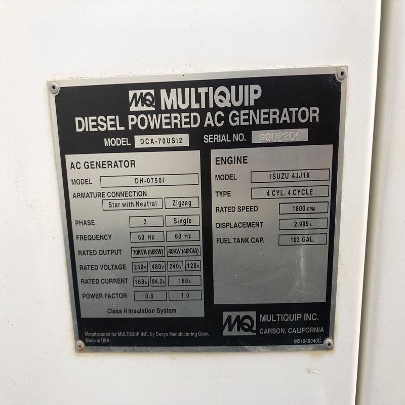 Máy phát điện MQ 70 Kva